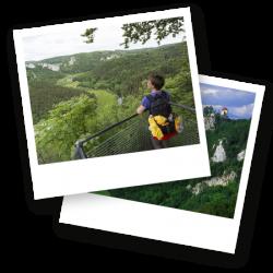 Zwei Polaroid Bilder mit Ausblicken auf das Donautal in Baden-Württemberg